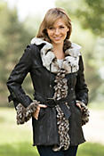Women's Deanna Double-Faced Rabbit Fur Jacket