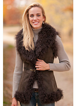 Women's Marlena Sueded Goat Fur Vest with Tibetan Lamb Fur Trim