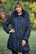 Women's Melinda Nylon Coat with Raccoon Fur Trim