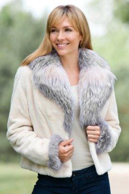 Julianne Beaver Fur Jacket with Fox Fur Trim