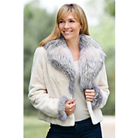 Women's Julianne Sheared Beaver Fur Jacket With Fox Fur Trim, Marfil / Natural, Size 14 Western & Country