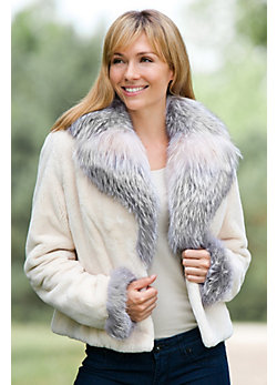 Julianne Beaver Fur Jacket with Fox Fur Trim