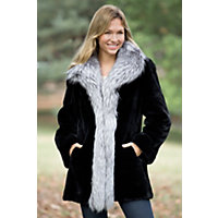 Women's Providence Sheared Beaver Fur Coat With Fox Fur Trim, Black / Silver, Size 12 Western & Country