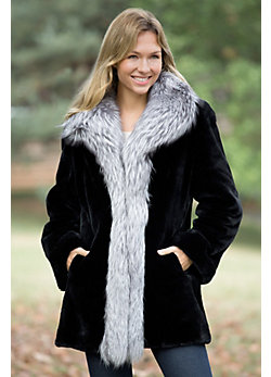Women's Providence Sheared Beaver Fur Coat with Fox Fur Trim -