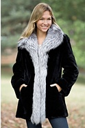 Women's Providence Sheared Beaver Fur Coat with Fox Fur Trim