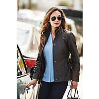 Women's Romana Ii Washed Lambskin Leather Jacket, Black / Walnut, Size Large (14-16) Western & Country