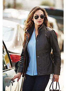 Women's Romana II Washed Lambskin Leather Jacket