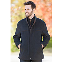 Men's Windy City Cashmere-Blend Wool Coat With Leather Trim, Grey, Size 44 Western & Country