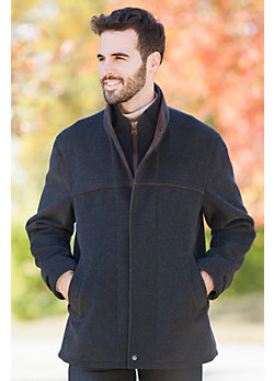 Men's Windy City Cashmere-Blend Wool Coat with Leather Trim