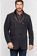 Men's Carlsbad Calfskin Leather Blazer with Shearling Collar