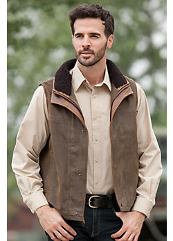 Men's Trekker Lambskin Leather Vest with Shearling Collar