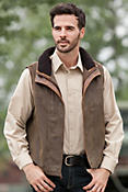 Trekker Lambskin Leather Vest with Shearling Collar
