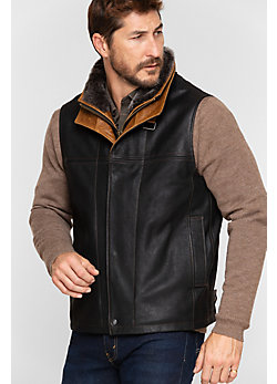 Men's Trekker Goatskin Leather Vest with Shearling Collar
