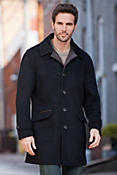 Men's Savile Row Cashmere Coat with Lambskin Leather Trim
