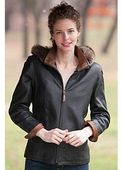 Women's Marie Claire Lambskin Leather Jacket with Toscana Trim