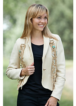 Kachina Fringed Leather Blazer
