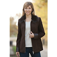 Women's Shaena Suede Jacket with Beaver and Fox Fur Trim, SABLE, Size 10