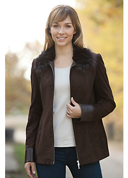 Women's Shaena Suede Jacket with Beaver and Fox Fur Trim