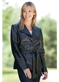 Women's Kerstin Belted Lambskin Leather Jacket
