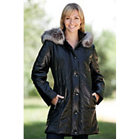 Women's Maria Quilted Lambskin Leather Coat with Fox Fur Trim, BLACK/INDIGO, Size 6