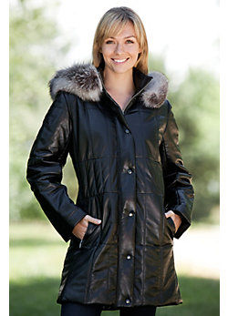Women's Maria Quilted Lambskin Leather Coat with Fox Fur Trim