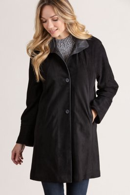 Sophie Lambskin Suede Leather Coat