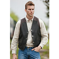 Men's Garrison Bison Leather Vest, Black / Mahogany, Size 42 Western & Country
