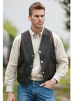 Men's Garrison Bison Leather Vest
