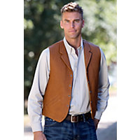Men's Gage Bison Leather Vest, Cognac, Size 42 Western & Country
