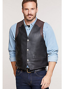 Men's Garrison Bison Leather Vest with Concealed Carry Pockets