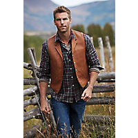 Gage Bison Leather Vest with Concealed Carry Pockets, COGNAC, Size 40