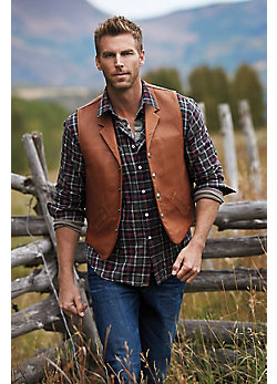 Gage Bison Leather Vest with Concealed-Carry Pockets