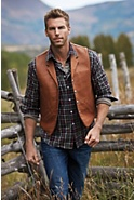Men's Gage Bison Leather Vest with Concealed-Carry Pockets