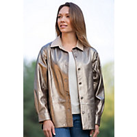 Women's Lila Metallic Lambskin Leather Shirt Jacket, Bronze, Size 10 Western & Country