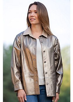 Lila Metallic Lambskin Leather Shirt Jacket