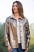 Women's Lila Metallic Lambskin Leather Shirt Jacket