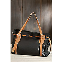 Women's Vachetta Leather Tote Bag, Black / Tan Western & Country