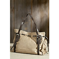 Women's Vachetta Leather Tote Bag, Taupe / Chocolate Western & Country
