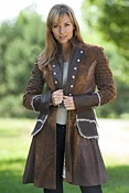 Women's 3/4 Fleur De Lis Leather Jacket