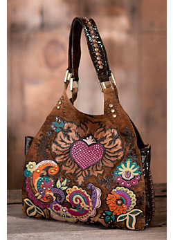 Heart Weeds Leather Handbag with Crystal Accent