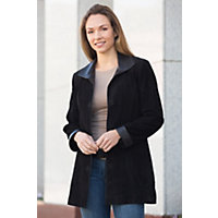 Women's Fiona Lamb Suede Leather Jacket, BLACK, Size 10