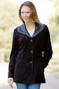 Women's Melrose Hooded Sueded Lambskin Leather Jacket