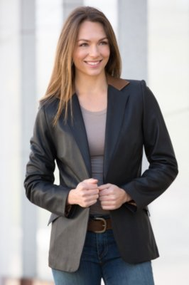 Ivy Silk Lambskin Leather Blazer