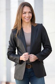 Ivy Silk Lambskin Leather Blazer