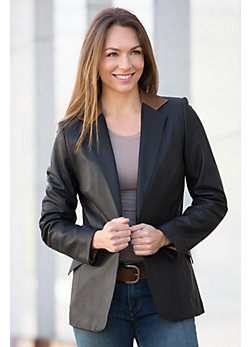 Women's Ivy Silk Lambskin Leather Blazer