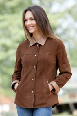 Joy Lambskin Suede Leather Shirt