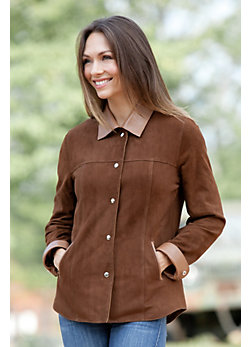 Women's Joy Sueded Lambskin Leather Shirt