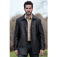 Men's Dorian Reversible Lambskin Leather & Nylon City Coat, BLACK/NAVY, Size 40
