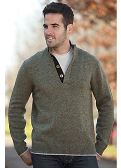 Men's Robert Cashmere-Blend Wool Sweater with Suede Trim