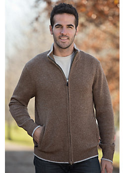 Men's Michael Cashmere-Blend Wool Sweater with Suede Trim